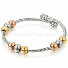 Women Elastic Stainless Steel Twisted Cable Beaded Open End Bangle Bracelet Cuff