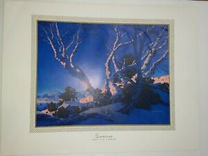 MAXFIELD PARRISH ORIGINAL PRINT WINTER SCENE 1955-SUNRISE