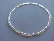 "10"" Italian Sterling Silver Ankle Bracelet- Figaro/Marina -4mm -Italy 925- New"
