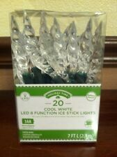 CHRISTMAS LIGHTS 20 LED White 8 Function Spiral Icicle Green Wire
