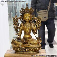 Tibet Buddhism Copper Bronze Gilt Kwan-yin Guanyin Green Tara Bodhisattva Statue