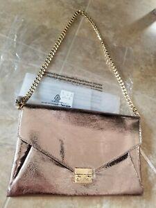 Express pewter matte shimmer metallic chain strap purse Convertible envelope NEW