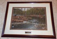 John McFaul Framed TWINS 1 BLACK BEARS Litho Print Signed & Numbered BEAVER POND