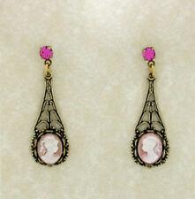 24k Gold Plated Vintage Look Rose Pink Crystal Cameo Drop Earrings