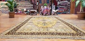 Beautiful Antique Cr1930-1939s Wool Pile,Saffron Dye Legendary Oushak Rug 5x9ft
