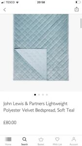 BNWT John Lewis Lightweight Polyester Velvet Bedspread/Soft Teal/RRP£80