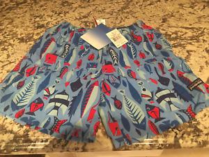NWT PATAGONIA Swim Shorts Youth Boys Size 10 Blue/Red Fish