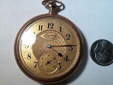 Rockford pocket watch, running, 17 jewels, Rose GF, 3 fingers, double roller, ne
