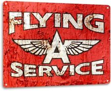 Flying A Service Oil Gas Garage Retro Vintage Rustic Wall Decor Metal Tin Sign