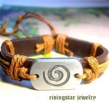 Cool Spiral Symbol Leather Fashion Surfer Biker Character Bracelet Wristband