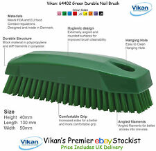 Vikan 64402 Stiff Nail Brush Scrubbing Cleaning Upholstery Fabric Carpets Green