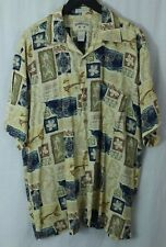 BAMBOO CAY fine resort men's L Rayon button shirt Fish Flower Floral pattern