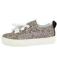 Sneaker donna glitterata multicolor vera pelle chiusura nastri made in italy ris