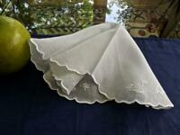 Vintage Cotton Round Handkerchief Dainty Floral Embroidery White Wedding Hanky
