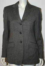 MAX MARA Weekend Gray White Herringbone Tweed Wool Blend Blazer Jacket 8