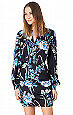 NWT Hale Bob dress, black floral, keyhole neck, sleeves, fitted skirt size 14
