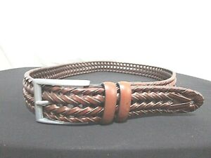 """Classic Brown Braided Leather Silver Buckle Men's Belt Sz 34, 32""""-36"""""""
