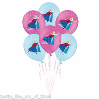 "DISNEY FROZEN Princess Girls Birthday Party Colour Printed 11"" Latex Balloons x6"