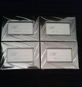 Lot of 4 Party Name Table Card Holder in Silver Frame