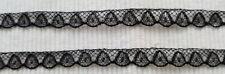 Antik: 3m feine Französische Valencienne Spitze 100% Baumwolle 10mm Schwarz 1920