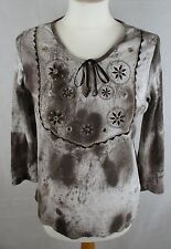 BHS 100% Cotton Ladies Tie Dyed Style T Shirt Top UK Size 12 - Brown/Chocolate