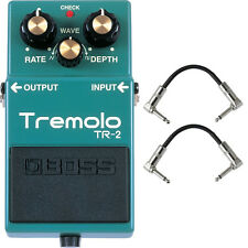 Boss TR-2 Tremolo Guitar Effects Pedal Stompbox Footswitch + Patch Cables