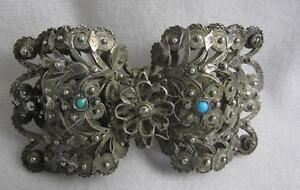 SUPERB ANTIQUE SILVER CANNETILLE BELT BUCKLE W/ TURQUOISE - 19TH C MIDDLE EAST