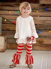 New Girls Boutique Peaches n Cream sz 2T Ivory Red Lace outfit Christmas Holiday