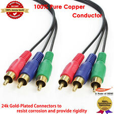 Gold 1.8 Meter 3RCA Component Video Cable, 100% Pure Copper 6FT 2M