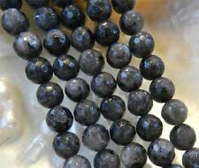 "Natural 6mm Faceted India Black Gray Labradorite Gems Round Loose Beads 15""AAA"