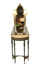 Art Deco Brass Entry Console With Mirror and Lights Attributed to Oscar Bach