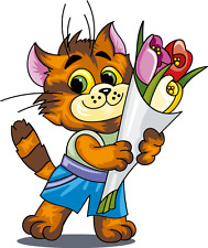 "Funny Cat Flowers Cartoon Car Bumper Sticker Decal 5"" x 5"""