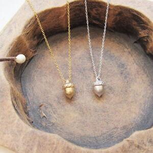 Minimalist Acorn Woodland Charm Necklace Autumn Nature Tiny + GIFT BOX
