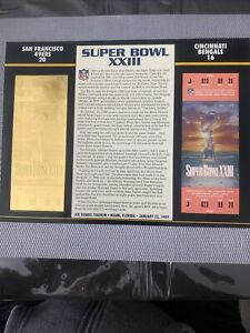 22KT GOLD SUPER BOWL 23 XXIII 49ERS VS BENGALS OFFICIALLY AUTHORIZED NFL TICKET