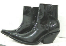 MADE TO ORDER Black patent leather side zipper ankle boots sharp toe and 3¨heels