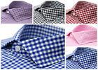 Ferrecci Men's Gingham Check Slim Fit Premium Cotton Dress Shirt - Many Colors