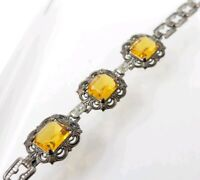 Exquisite Fine Vintage Sterling Silver Art Deco Czech Glass Topaz Bracelet