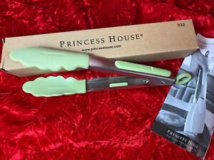 """Princess House #322 Stainless Steel & Green Silicone 9"""" Gripper Tongs New!"""