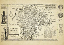Devon  County Map by Herman Moll 1724 - Reproduction