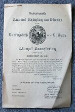 1891 DARTMOUTH COLLEGE Reunion Dinner Program CHICAGO ILLINOIS ALUMNI Ivy League