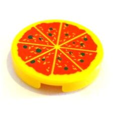 Lego Minifigs Yellow Round Printed Flat PIZZA Pie Tile 2 x 2 Food Accessory NEW