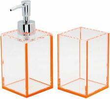 Lund London Acrylic Bathroom Set of 2 - Soap Dispenser & Storage Pot (Orange)