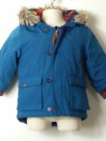 BOYS NEXT AGE 9-12 MONTHS BLUE HOODED PADDED QUILTED COAT JACKET KIDS
