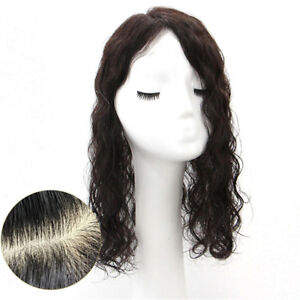 Natural Curly 100% Human Hair Topper Hair Piece Cover Loss Hair Replacement