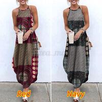 UK Women Sleeveless Printed Vintage Holiday Dresses Slip Dress Kaftan Long Dress