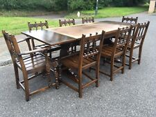 Vintage Large Ercol Extending Drawer Leaf Dining Table and Eight Chairs