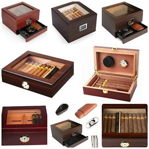 ❄️Glass TOP CEDAR Humidor Case Box I Front Digital Hygrometer 10-50 Cigars