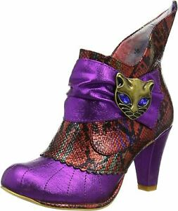 Irregular Choice Miaow Pink Red Womens Ankle Boots