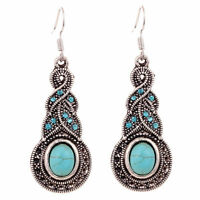 Retro Women Natural Turquoise Crystal Tibet Silver Hook Dangle Earrings Jewelry