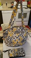 Vera Bradley Go Wild Glenna Purse Handbag zip around Wallet Yellow Black  lot